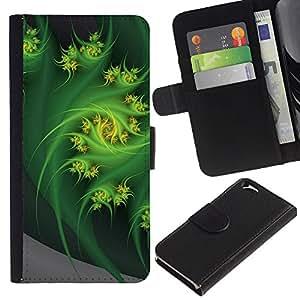 Billetera de Cuero Caso Titular de la tarjeta Carcasa Funda para Apple Iphone 6 4.7 / Abstract Swirl Fractal Nature Art / STRONG