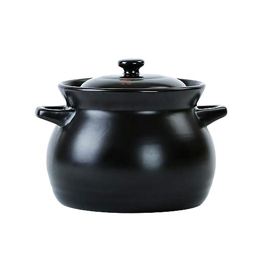 Pan&Pan Ronda Plato de cerámica Negro cazuela/Olla de Barro/Pot de ...