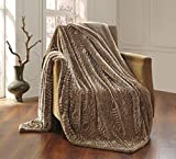 All American Collection New Solid Plush Throw Blanket with Sherpa/Borrego Backing Queen/King Size (Taupe Beige)