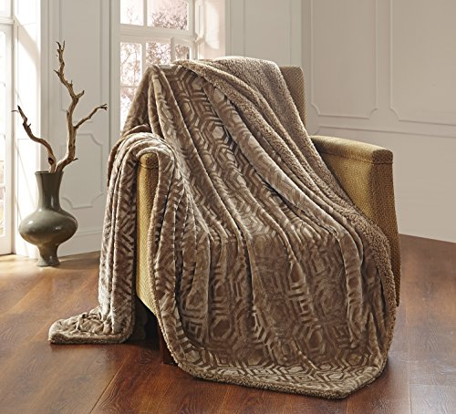 All American Collection Solid Plush Throw Blanket with Sherpa/Borrego Backing Queen/King Size (Taupe Beige)