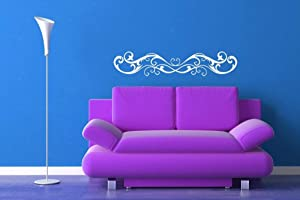 Horizontal Wall Art Victorian Swirl Decal Fleur de lis Horizontal Decor Wall Decal Sticker Vinyl Home Wall Art Bedroom Decor and Stick Made in USA