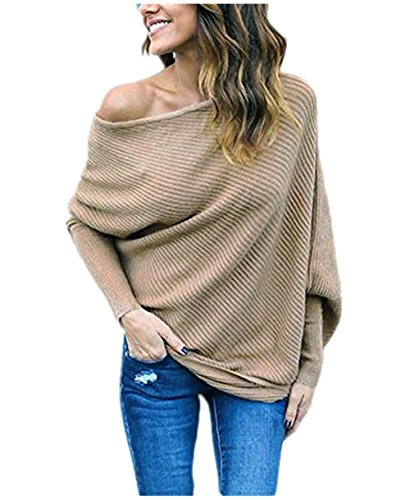 - GOLDSTITCH Women's Off Shoulder Batwing Sleeve Loose Pullover Sweater Knit Jumper