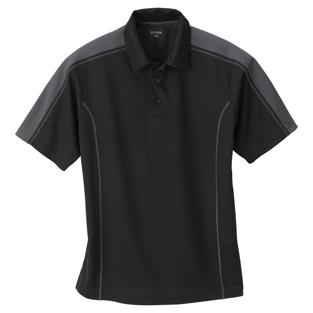 Ash City Mens Eperformance Extreme Pique Color Block Polo Shirt (X-Large, Black/Black Silk) by Ash City Apparel