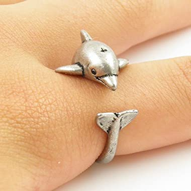 Antique Silver Plated Tiny Cute Dolphin Animal Wrap Unique Adjustable Ring Jewelry Gift for Women and Girls body