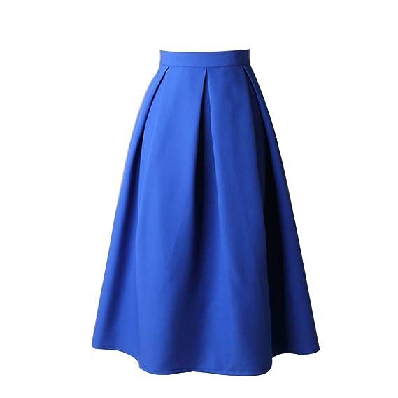 Tutú Vintage Color Sólido Falda Larga de Paraguas Faldas Plisada ...