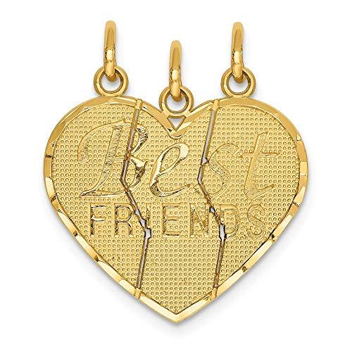 Mia Diamonds 14k Yellow Gold 3 Piece Break-Apart Friend Charm (25mm x 20mm)