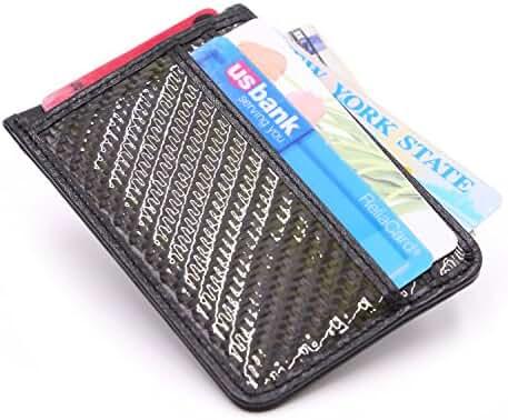 Kinzd Mens Slim Grain Leather Credit Card Holder RFID Carbon Blocking Wallet