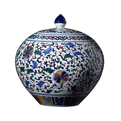 - Vases LIUBINGER Ceramic Ornaments Jingdezhen Blue and White Porcelain Hand-Painted Colorful Cans Living Room Decoration Storage Tank Home Sculpture