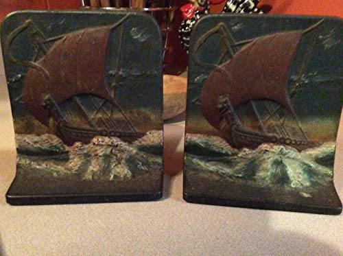 (Early 1900s Pair of Cast Iron Viking Ship Bookends by Lucas Incense)