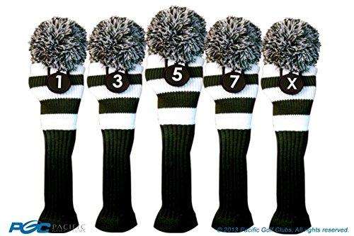 夜明けに雄弁家語Majekゴルフクラブ1 3 5 7 xホワイトとグリーンLimited EditionドライバーとフェアウェイウッドヘッドカバーFits 460 ccドライバーツアーニットレトロヴィンテージPomクラシックロングネックメタルLongneck Woods Headcovers