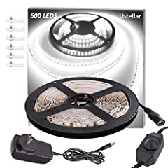 Pattern Name: 600LEDs Non-waterproof Cool White  Specifications:  ●Color: Daylight White ●Size of LEDs: 2835 LEDs ●Length of a tape: 5m/ 16.4ft  ●Quantity of LEDs : 600  ●Working Voltage: 12V DC  ●Dimmable:Yes ●Waterproof: NO ●Safe to use: Th...