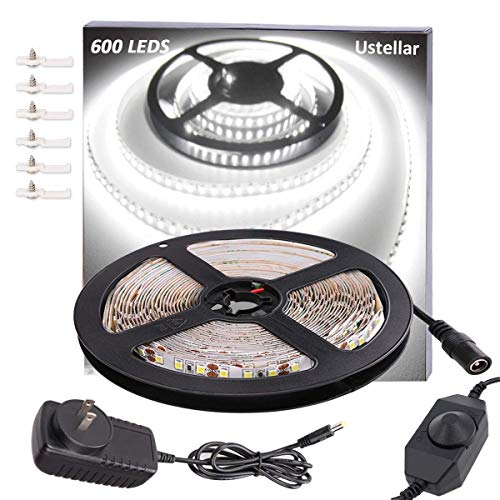 - Ustellar Dimmable 600 LED Light Strip Kit with Power Supply, SMD 2835 LEDs, Super Bright 16.4ft/5m 12V LED Ribbon, Non-Waterproof, 6000K Daylight White Under Cabinet Lighting Strips, LED Tape