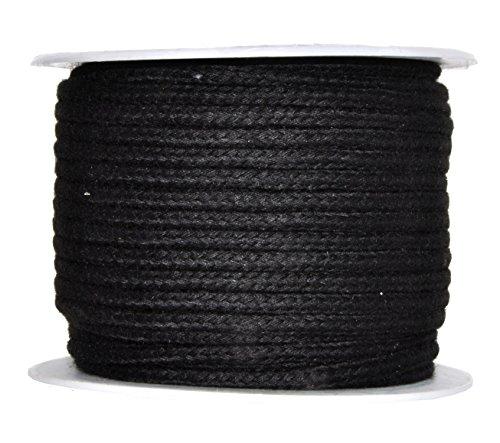 Mandala Crafts Soft Drawstring Replacement Rope Upholstery Crochet Macramé Cotton Welt Trim Piping Cord (Black, 4mm) by Mandala Crafts
