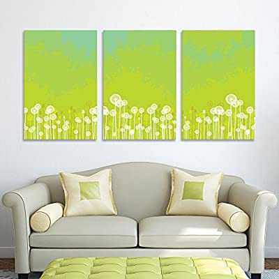 With a Professional Touch, Wonderful Craft, 3 Panel White Dandelions on Green Background x 3 Panels