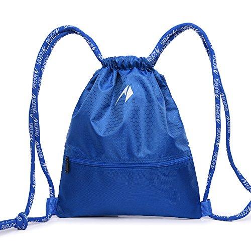 Lanlan Outdoor tragbare Sport Rucksack atmungsaktiv Nylon Kordelzug Tasche Kordelzug Rucksack für Sport Reisen Shopping Fitness Navy Blau L