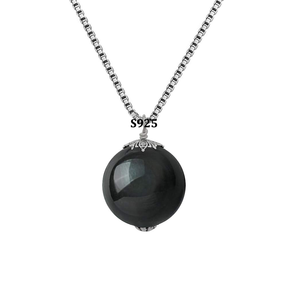 OK-STORE Natural Black Obsidian Rainbow Eyes Stone Necklace Pendant, 16mm Obsidian Bead with Woven Cotton Cord, Talisman Dedication of Wellness and Wealth (A-S925 18mm)