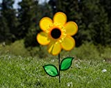 In the Breeze Best Selling 12 Inch Yellow Sunflower Wind Spinner with Leaves - Includes Ground Stake - Colorful Flower for your Yard and Garden