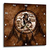 3dRose dpp_52256_1 Brown Native American Wolf Based on a Painting by Martin Basmajian Wall Clock, 10 by 10-Inch For Sale