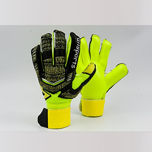 Coodoo Adult & Youth Goalkeeper Gloves Goalie Gloves with Pro Finger Spines, Make the Toughest Saves-Secure and Comfortable,Fit Match Training for Women and Men (Black & Yellow, 6) ()