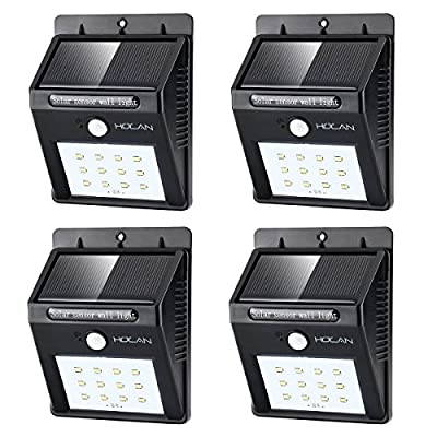 12 LED Solar Lights, Holan Waterproof Motion Sensor Solar Light Outdoor Wall Lights for Garden Patio Step Stair Fence Deck Yard Driveway, 4 Pack