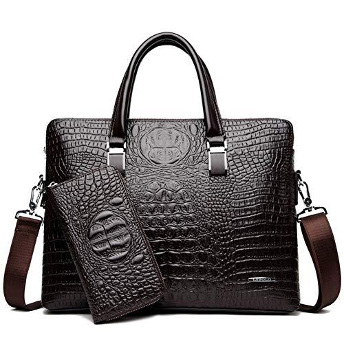 DCRYWRX Mens PU Leather Briefcase Business Crocodile Pattern Handbag Shoulder Bag Messenger Briefcase Computer Bag,Brown