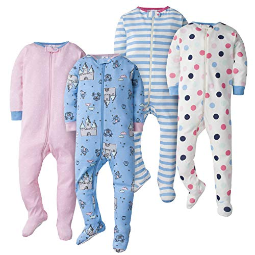 Gerber Baby Girls' 4-Pack Footed Pajamas
