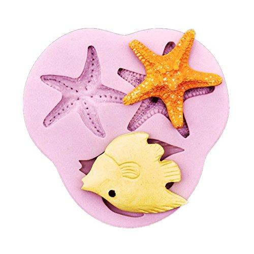 ELINKA Sea Life Stlye Silicone Candy Chocolate Clay Gumpaste Sugar Cake Decorating Craft Fondant Molds Starfish Mold (Custom Candy Molds)