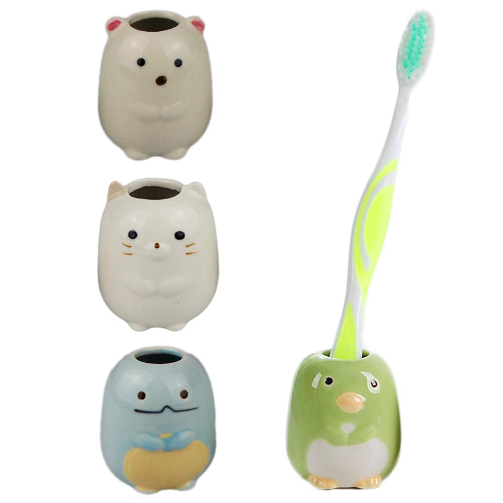 Hidecor Animal Mini Ceramic Toothbrush Holder Stand for Bathroom Vanity Countertops, 4 Pack(Cat, Bear, Dinosaur, Penguin)