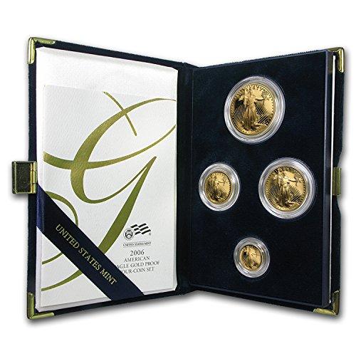 2006 W 4-Coin Proof Gold American Eagle Set (w/Box & COA) Brilliant Uncirculated