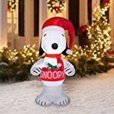 Peanuts Chirstmas Snoopy Holding Bowl Blowup Inflatable Lawn Decoration 5ft Tall (1)