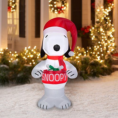 Peanuts Chirstmas Snoopy Holding Bowl Blowup Inflatable Lawn Decoration 5ft Tall (1) by Gemmy
