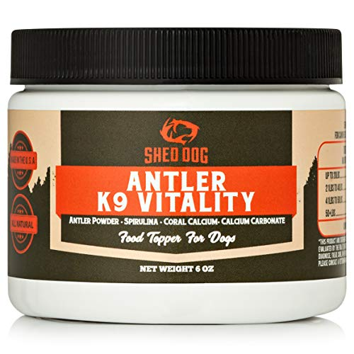 Shed Dog Inc. K9 Vitality Superfood Antler Powder Supplement for Dogs - with Spirulina - from Naturally Shed Deer, Elk & Moose Antlers - Best Dietary Multivitamin Dog Supplement - Moose Shed Antlers