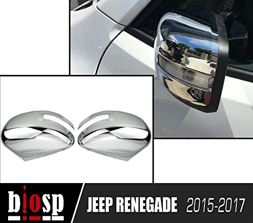 BIOSP 2015-2017 for Jeep Renegade Chrome ABS Rearview Mirror Side Moulding Cover Trim,silver