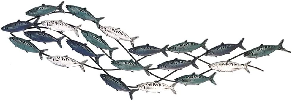 Nautical Style Fish Aqua Theme Iron Walls Decoration For Living Room Walls 150x42cm Metal Wall Sculpture
