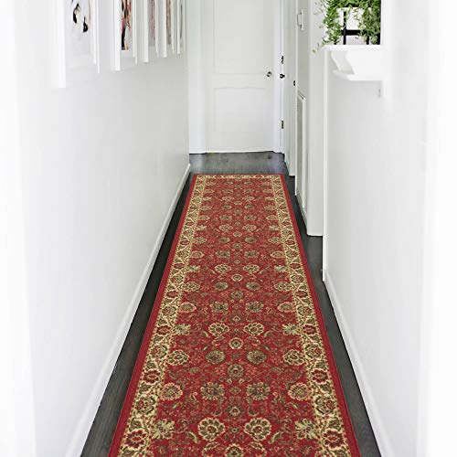 Ottomanson Ottohome Collection Traditional Persian Oriental Floral Design Non-Skid Rubber Backing Runner Rug, 2'0