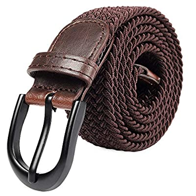 Braided Stretch Elastic Belt Pin Oval Solid Black Buckle Leather Loop End Tip Men/Women/Junior (7 Sizes 27 Colors ?