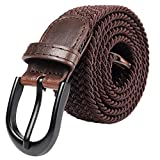 Braided Stretch Elastic Belt Pin Oval Solid Black Buckle Leather Loop End Tip Men/Women/Junior (Brown, X-Small 24'-26' (31' Length))