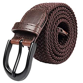 "Braided Stretch Elastic Belt with Pin Oval Solid Black Buckle Leather Loop End Tip with Men/Women/Junior (Brown, Small 28""-30"" (36"" Length))"