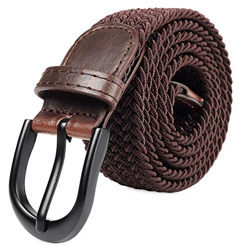 Braided Stretch Elastic Belt Pin Oval Solid Black Buckle Leather Loop End Tip Men/Women/Junior (Brown, Medium 32