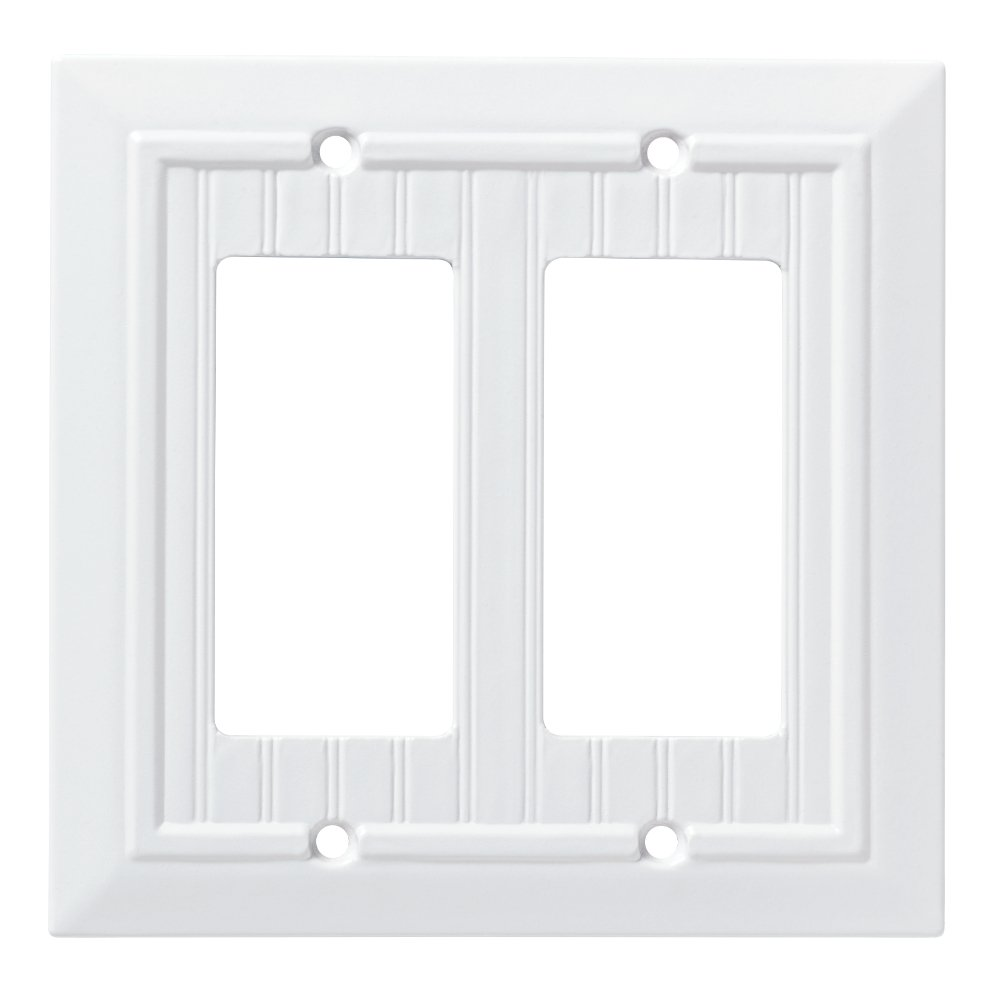 Franklin Brass W35272-PW-C Classic Beadboard Double Decorator Wall Plate/Switch Plate/Cover, Pure White