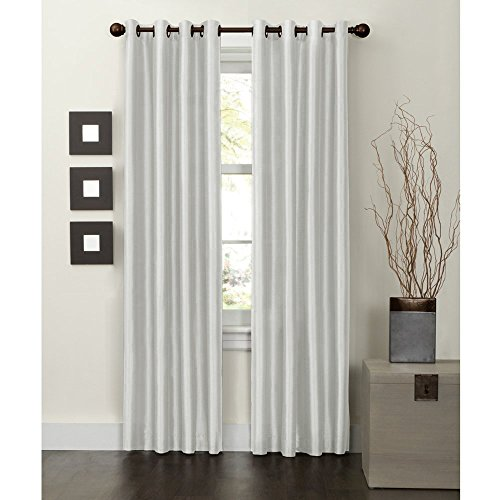MAYTEX Jardin Thermal Blackout Room Darkening Faux Silk Single Panel Grommet Window Curtain, 54 inch x 63 inch, Natural White