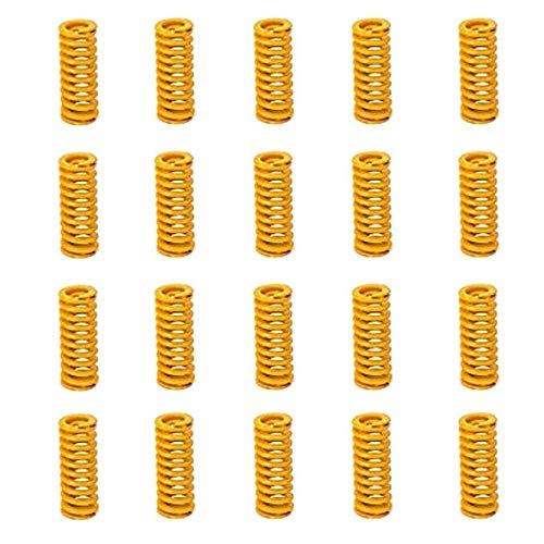 8mm OD 20mm Long Light Load Stamping Compression Mould Die Spring Yellow 20pcs ()