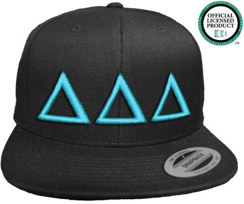 DELTA DELTA DELTA Flat Brim Snapback Hat Turquoise Letters / TriDelt | Tri Delta | Sorority Cap