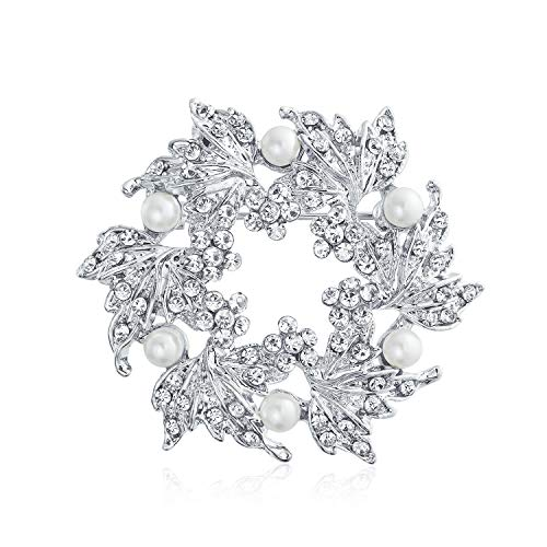 Bling Jewelry Bridal Crystal White Fashion Large Statement Leaf Wreath Circle Brooch Pin for Women for Mother Silver Plated