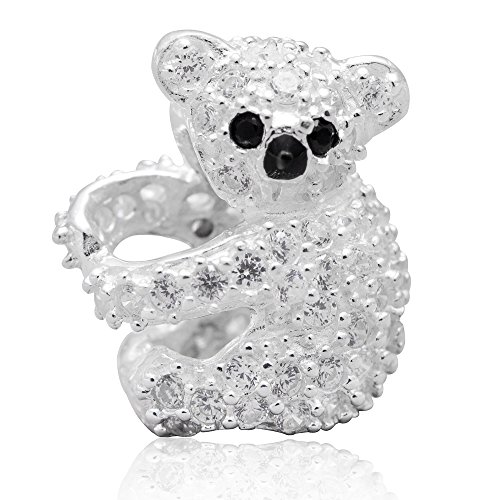 Koala Bear Charm with Cubic Zircon Solid 925 Sterling Sil...