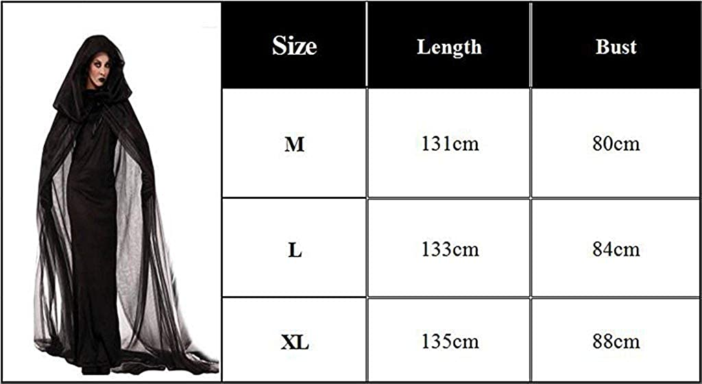 Amazon.com: NonEcho Women Black Witch Halloween Costume for Adults 2PC Cloak Hooded Dress: Home & Kitchen