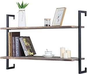 GWH Industrial Metal and Wood Wall Shelf Unit,Rustic Floating Wood Shelves Wall Mounted,36in Iron Real Reclaimed Wood Book Shelves,Hanging Wall Shelves for Bedrooms Office,2 Tier Bookshelf Shelving