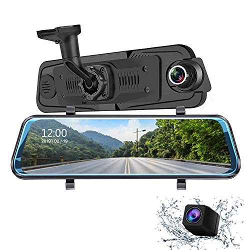 Auto Camera Dash cam 9.66 Inch Full HD Front 1080P and Rear 1080P Media Screen with Bracket, 170°Wide-Angle Lens and Rearcam, Parking Monitor (H10)