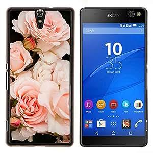 Caucho caso de Shell duro de la cubierta de accesorios de protección BY RAYDREAMMM - Sony Xperia C5 Ultra - Luz Rosas Árbol de Composición