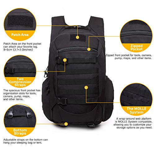 Mardingtop Tactical Backpack, Black 2.0, 52cm